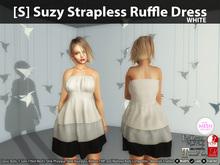 [S] Suzy Strapless Ruffle Dress White
