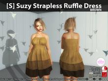 [S] Suzy Strapless Ruffle Dress Brown