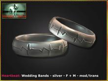 Bliensen + MaiTai - Heartbeat - Wedding Bands F +M - silver
