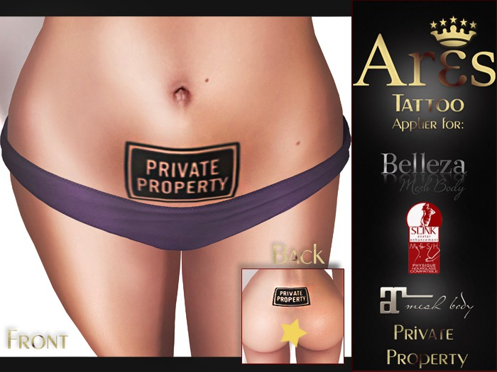 Second Life Marketplace Ares Tattoo Private Property Maitreya Belleza Slink Appliers