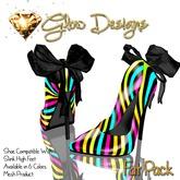.:Glow Designs:. Bow & Stripes Stilettos