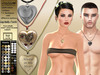 [SuXue Mesh] Necklace Amour Heart - HUD 30 Heart Pattern 14 Chains 10 Leathers Textures - Resize - Unisex - DEMO
