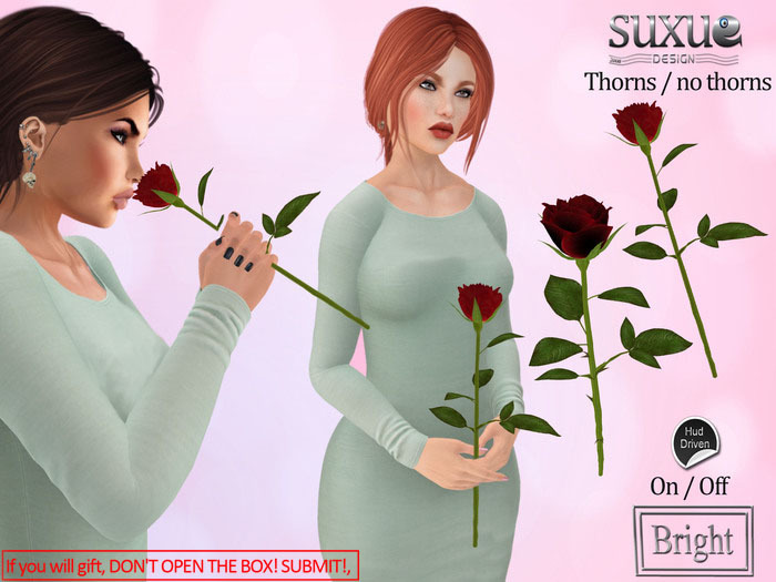 [SuXue Mesh] Gift V2 Rose 3 AO One-handed, holding with both hands, Smelling, Thorny, Thornless, Resizable,Transfer, Red