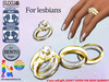 [SuXue Mesh] Golkoy Bento & Classic Unrigged Wedding Rings Bands Gold Resizable Regular NoMicro For 2 Lesbians