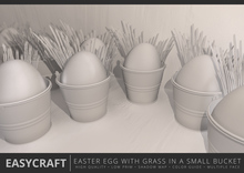 EASYCRAFT - Easter Egg with Grass in a Small Bucket