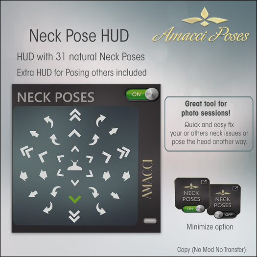 Amacci - Neck Pose HUD with 31 Poses