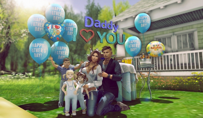 Aphrodite Happy fathers day party set complete- With fathers day cake, balloons, I love dad sign, food, drinks & more