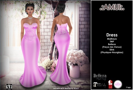 ".:AMUI:. ""Rocio"" Gown Dress - PINK - Maitreya/Belleza/Slink"