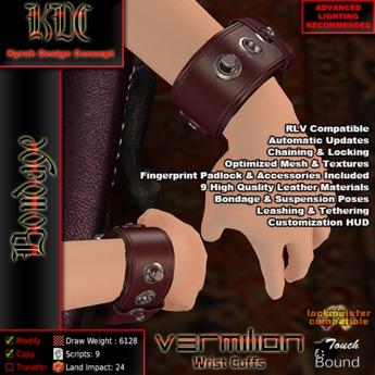 KDC Vermilion wrist cuffs