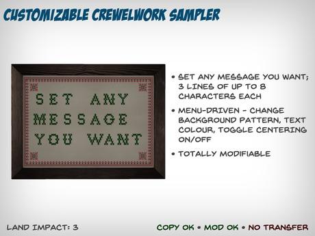 Customizable Crewelwork Sampler