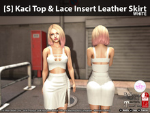 [S] Kaci Top & Lace Insert Leather Skirt White