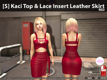[S] Kaci Top & Lace Insert Leather Skirt Red