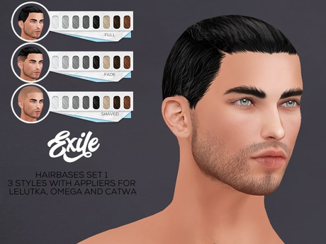 Exile - Hairbase Set 1for Lelutka,Omega and Catwa Mesh Heads