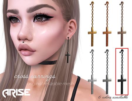 .ARISE. Cross Earrings / Black