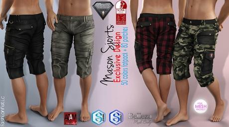 MASON FATPACK Male Cargo Shorts Pants MESH - ADAM, AESTHETIC, SIGNATURE GIANNI - GERALT, SLINK, TMP, JAKE - FashionNatic