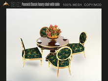 [Dolphin Design] Peacock Classic luxury chair with table