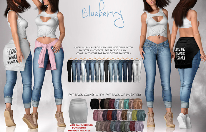 Blueberry - Lila Jeans - Fat Pack