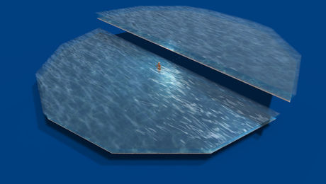 "0.66LI full perm ""Water illusion Half Circle, Animated Material Water"" mesh for skyboxes/fountains/pools, any texture"