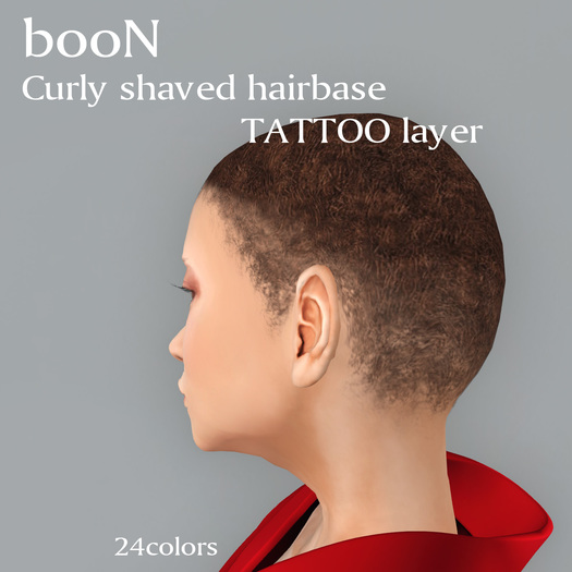 *booN Curly shaved hairbase tattoo layer
