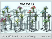 Maya's - Beautiful Realistic Set of Tulips in a vase