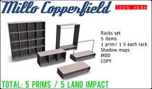 100% Mesh Millo Copperfield Decor - Set of racks 5 items - Mod and Copy - total 5 prims (Each rack only 1 prim / 1 li)