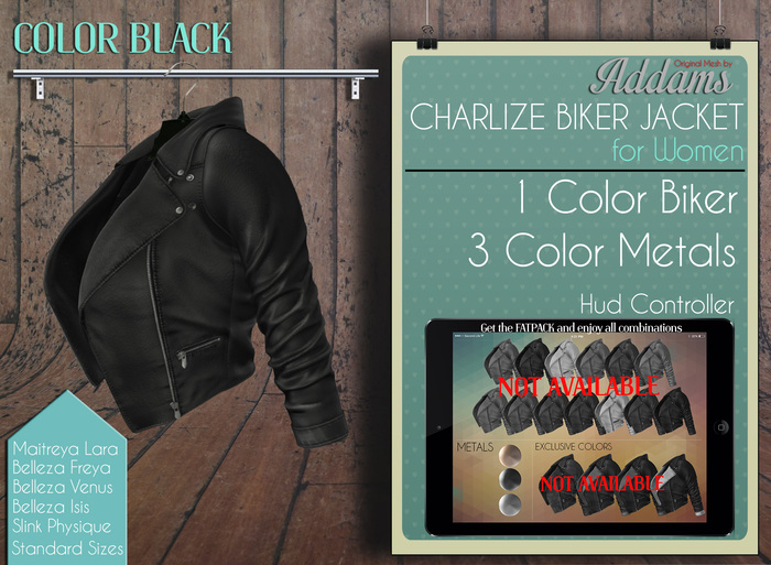 Addams - Charlize - Biker Jacket - Leather Black
