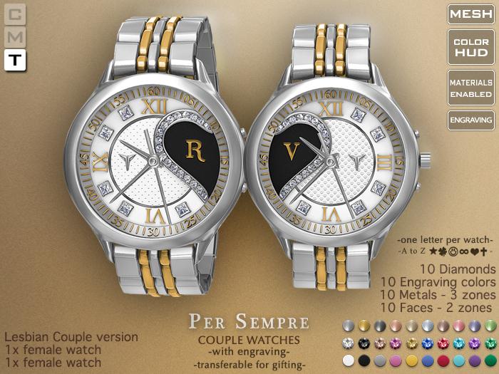 **RE** Per Sempre Lesbian Couple Watches - Engravable - Transferable