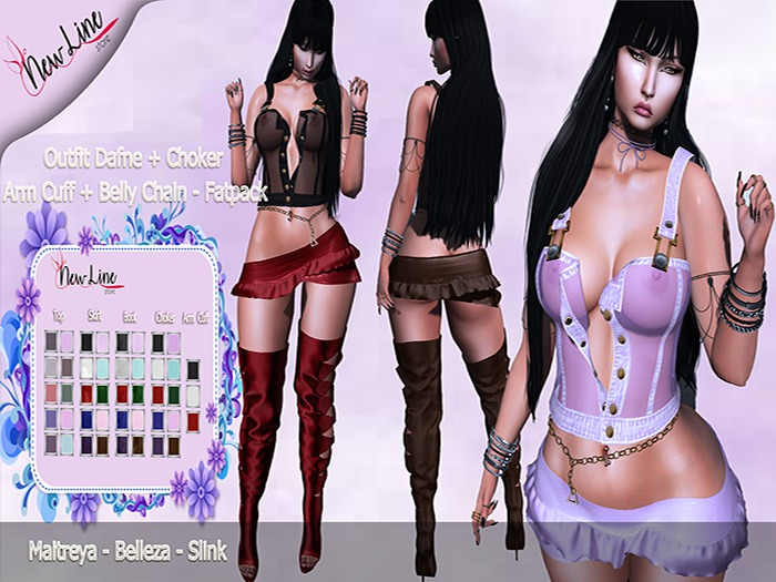 .:: New Line Store::.Outfit Dafne+Choker+Belly Chain - Fatpack