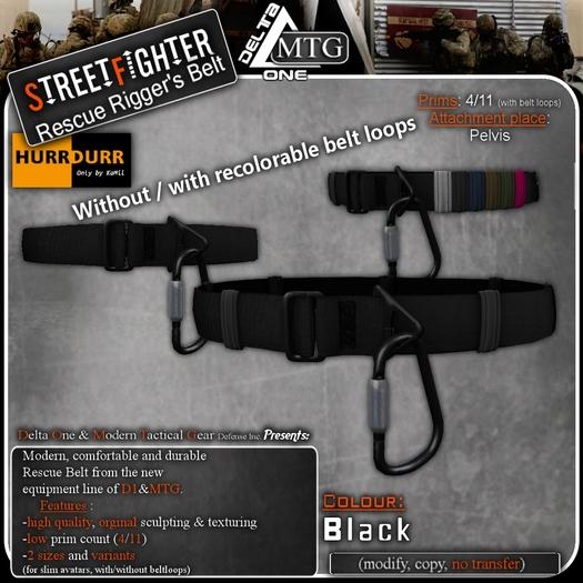 D1-MTG StreetFighter Rescue Rigger Belt Black