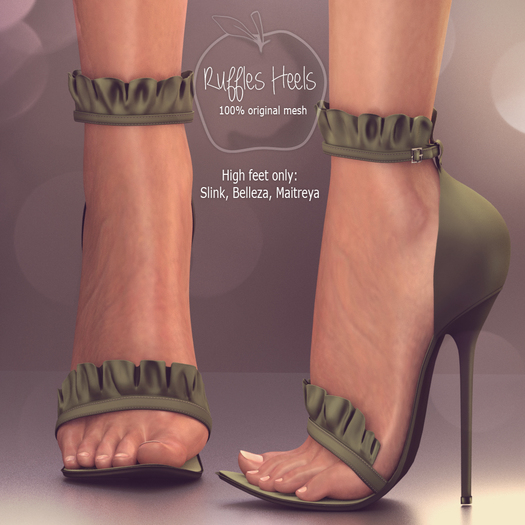 (AMD) Ruffles Heels - Green (wear to unpack)