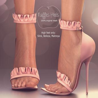 (AMD) Ruffles Heels - Pale Pink (wear to unpack)