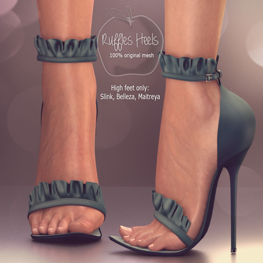 (AMD) Ruffles Heels - Teal (wear to unpack)