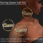 EARRING QUEEN ICED OUT GOLD     -RYCA-
