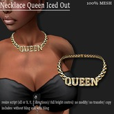 NECKLACE QUEEN ICED OUT (SHORT) GOLD   -RYCA-