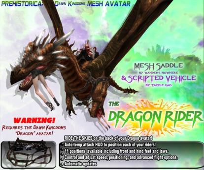 DRAGON RIDER ~ Dragon Saddle & Riding Vehicle System