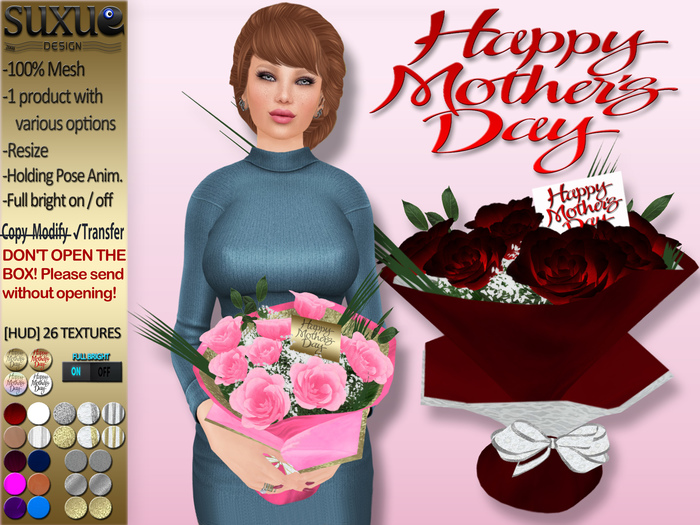 [SuXue Mesh] FATPACK Mother's Day Abrianna Bouquet Of Roses With HUD Holding Pose Animate Resize