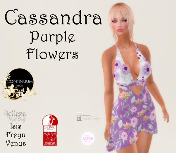 Continuum Cassandra Purple flowers dress-GIFT