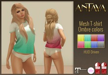 :: ANTAYA :: Mesh T-shirt ombre color PROMO / TMP, Slink Physics, Slink Hourglass, Maitreya