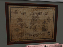 Old Nautical SecondLife Map Framed - Mesh!