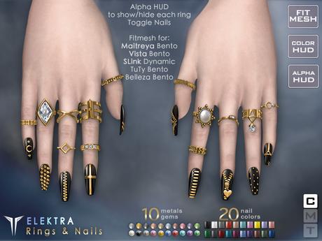 **RE** Elektra Nails & Rings Set - Maitreya, Belleza, SLink, TuTy, Vista