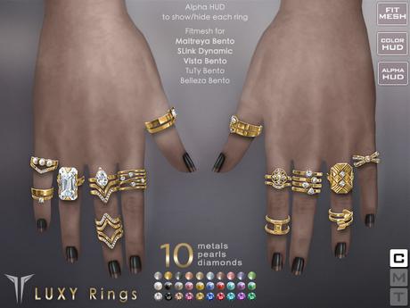 **RE** Luxy Rings Set - Maitreya - SLink - Vista - TuTy - Belleza