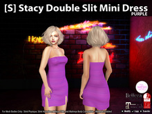 [S] Stacy Double Slit Mini Dress Purple