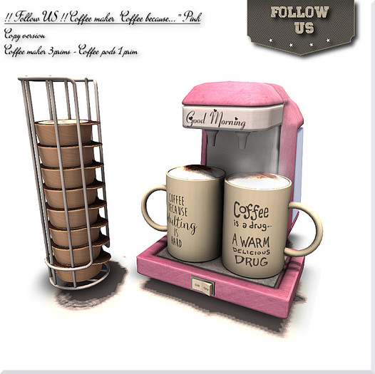 """LIMITED OFFER !! Follow US !! Coffeemaker """"Coffee because.."""" pink COPY version"""