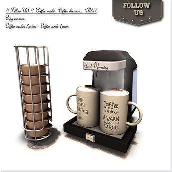 "LIMITED OFFER !! Follow US !! Coffeemaker ""Coffee because.."" black COPY version"