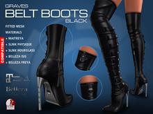 GRAVES Belt Boots - Black - Leather / Latex Overknee / Thigh High - Maitreya, Belleza, Slink Physique Hourglass