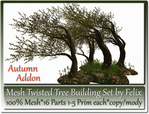 Mesh Twisted Tree Building Set by Felix 16 Parts Autumn Addon