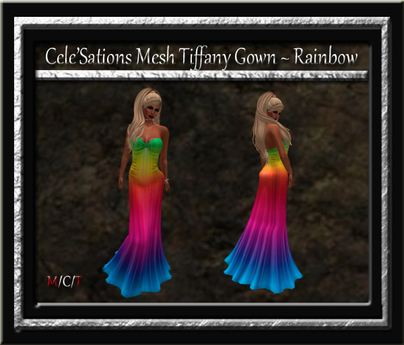 Cele'Sations Mesh Tiffany Gown ~ Rainbow  [ Maitreya Belleza TMP Eve Slink ]