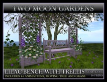 TMG - LILAC BENCH WITH TRELLIS* with moving tree, grass and 44 animations