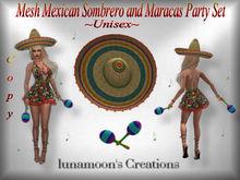 Cinco de Mayo Mexican Sombrero & Maracas Party Set-Mesh