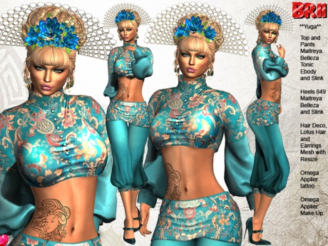 ** YUGA BLUE VERSION ASIAN STYLE COMPLET OUTFIT **